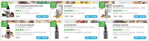 screenshot of vape deals