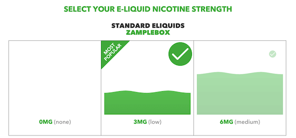 screenshot nicotine strength selector